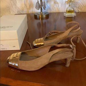 YSL shoes sling back strap gold trim 39.5